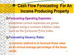 cash flow forecasting for an income producing property1