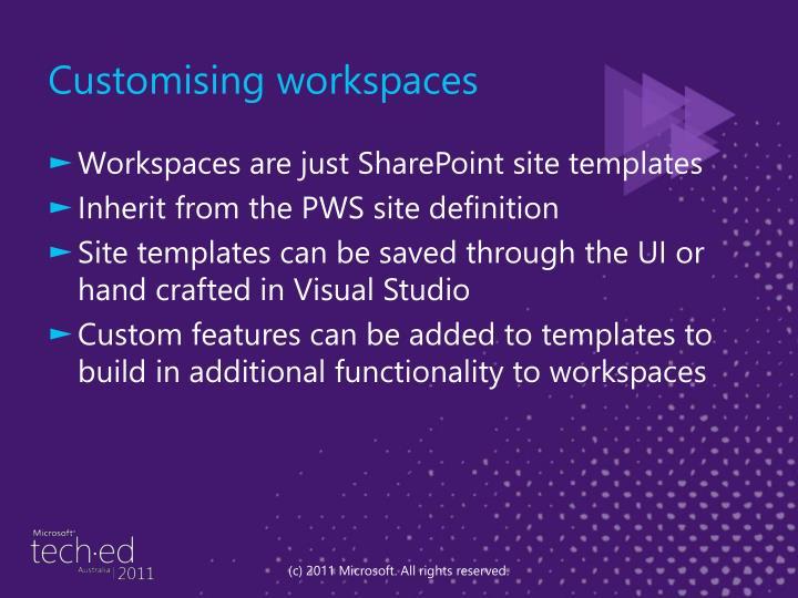 Customising workspaces