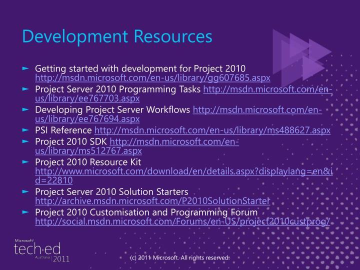 Development Resources