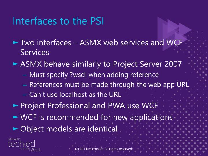 Interfaces to the PSI