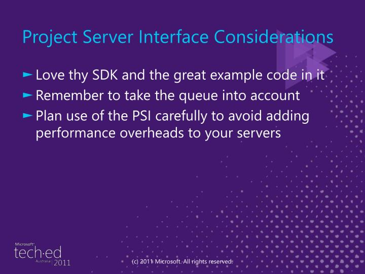 Project Server Interface Considerations