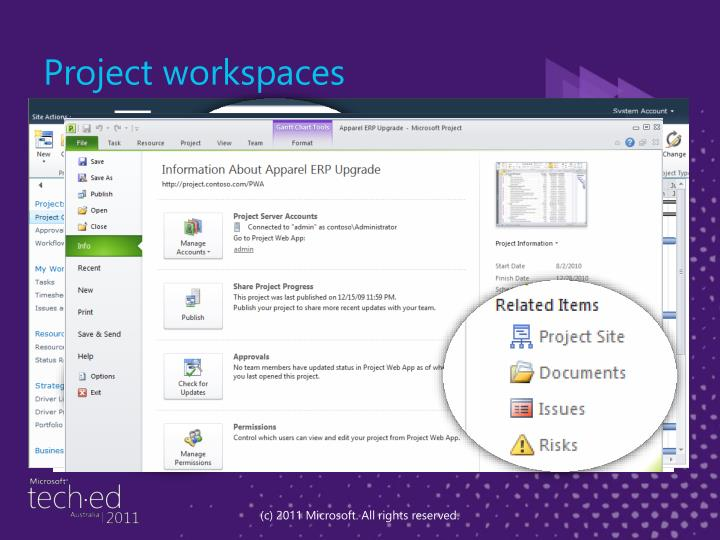 Project workspaces
