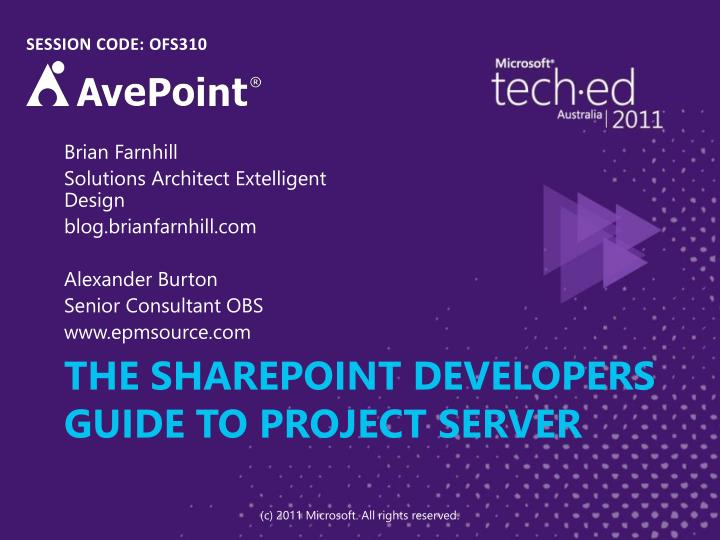 The sharepoint developers guide to project server