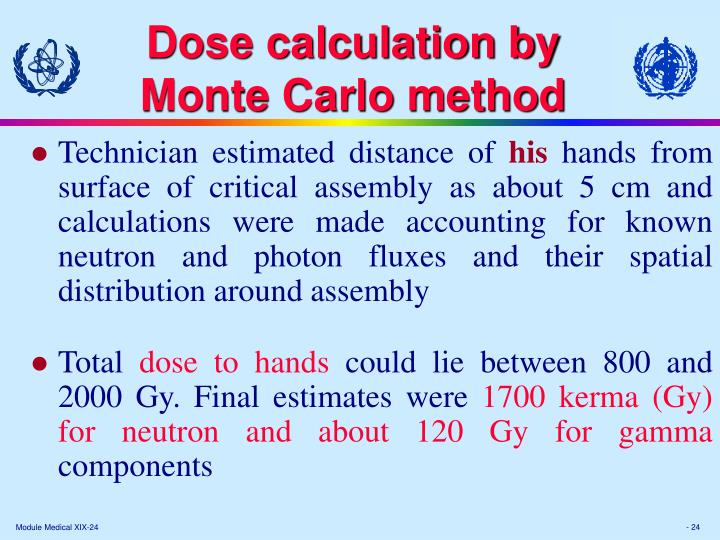 Dose calculation by