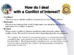 how do i deal with a conflict of interest