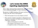 let s review the arra reporting requirements