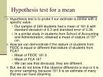 hypothesis test for a mean