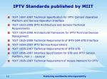 iptv standards published by miit