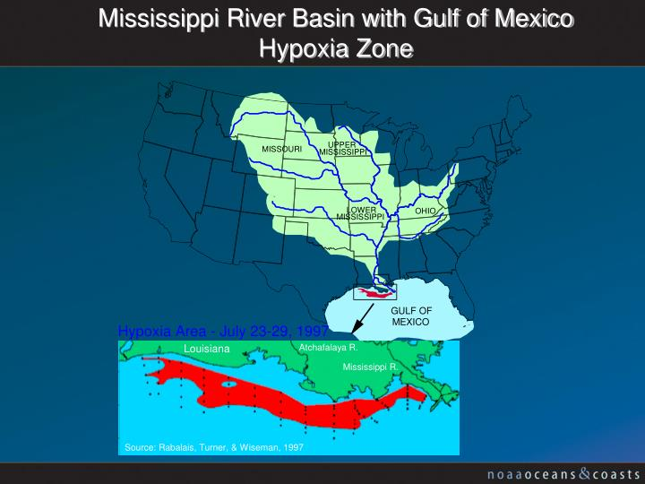 Mississippi River Basin with Gulf of Mexico Hypoxia Zone