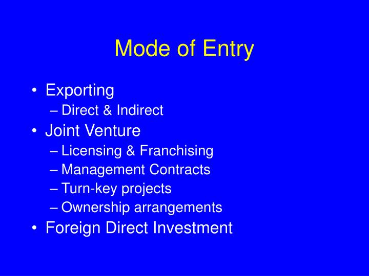 Mode of Entry