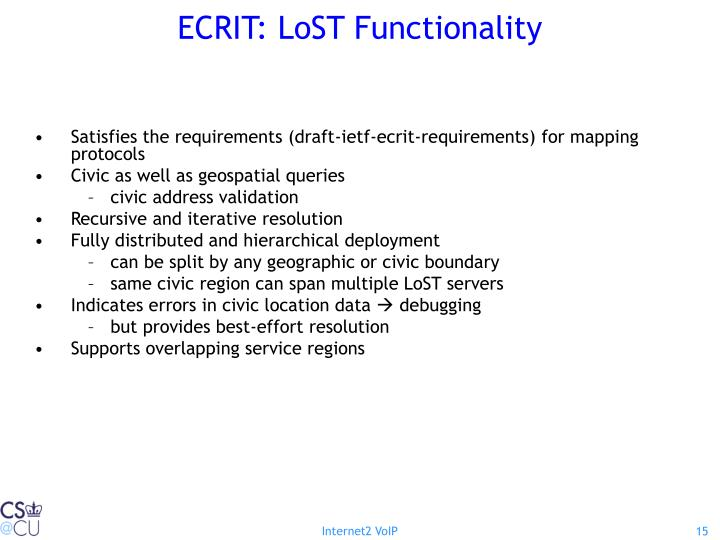 ECRIT: LoST Functionality