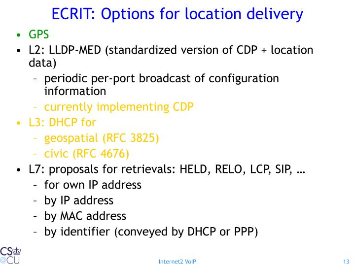 ECRIT: Options for location delivery