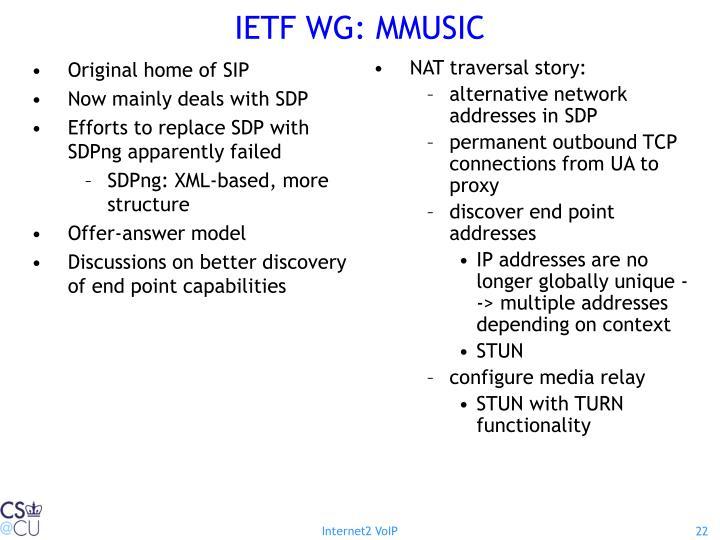 IETF WG: MMUSIC