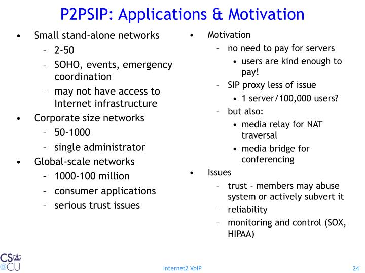 P2PSIP: Applications & Motivation