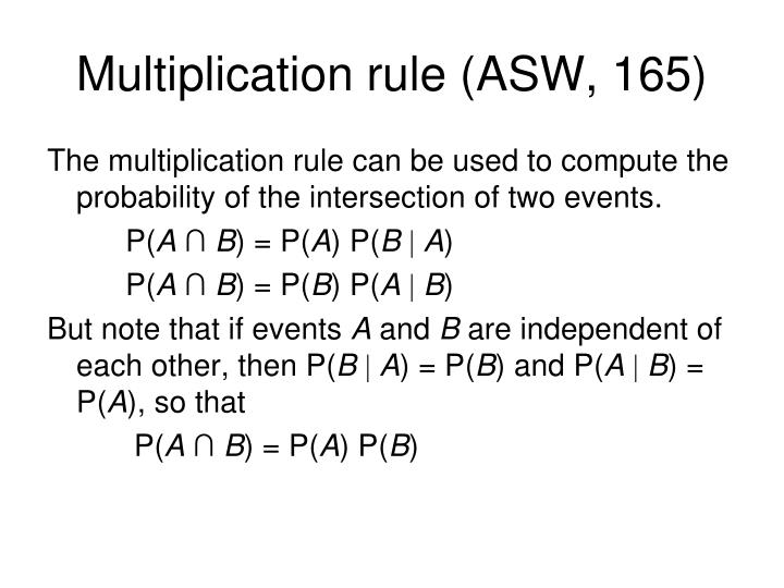 Multiplication rule (ASW, 165)