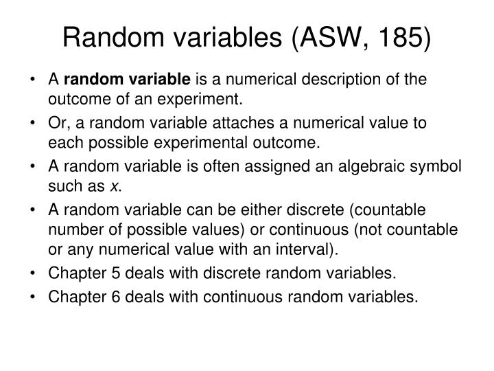 Random variables (ASW, 185)
