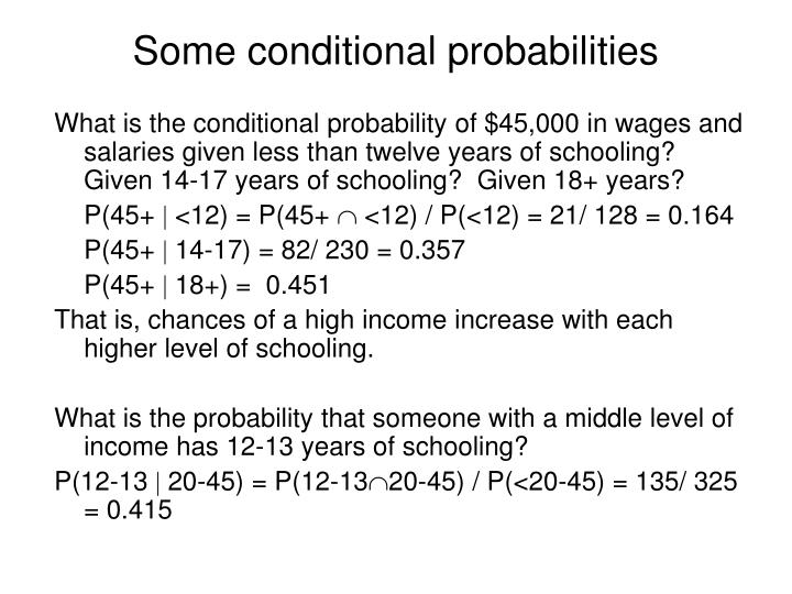 Some conditional probabilities
