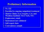 preliminary information