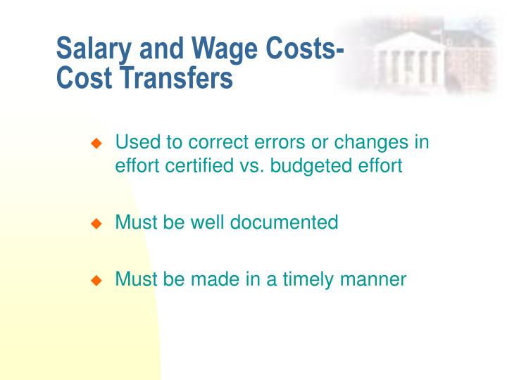 Salary and Wage Costs- Cost Transfers