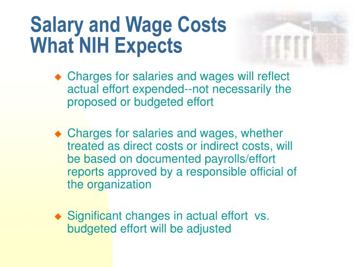 Salary and wage costs what nih expects
