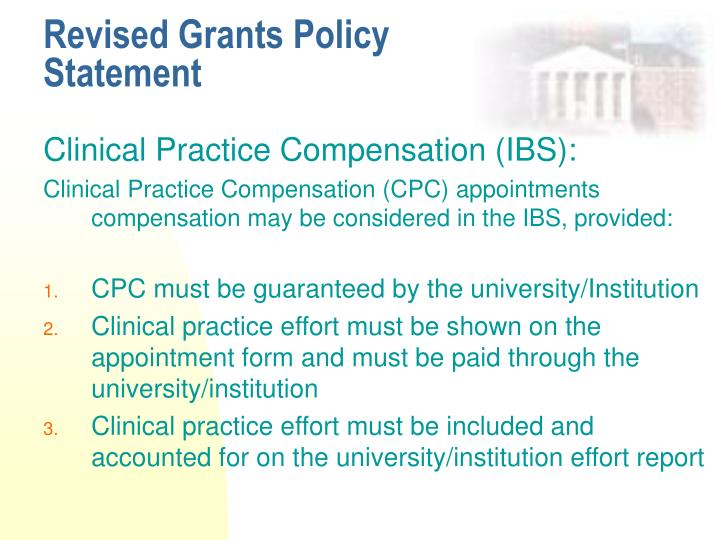 Revised Grants Policy Statement
