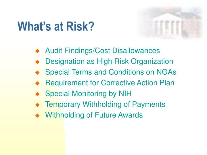 What's at Risk?