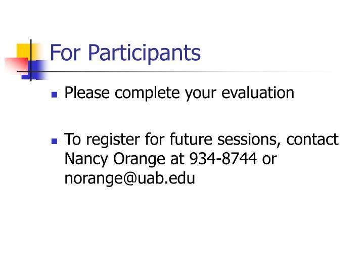 For Participants