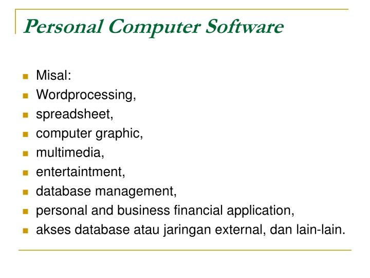 Personal Computer Software
