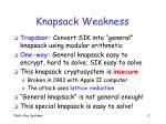 knapsack weakness