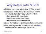 why bother with ntru