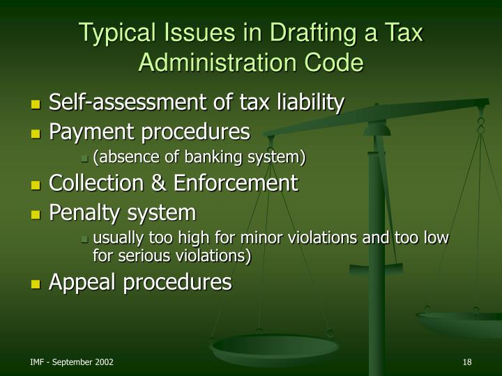 Typical Issues in Drafting a Tax Administration Code
