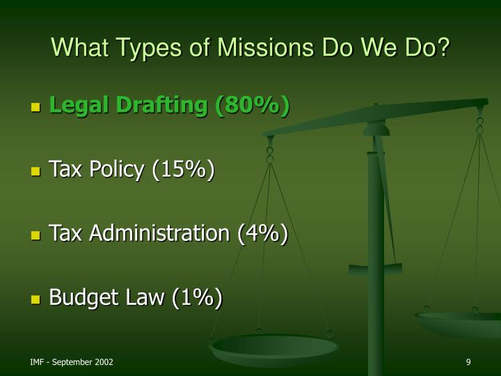 What Types of Missions Do We Do?
