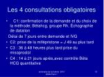 les 4 consultations obligatoires