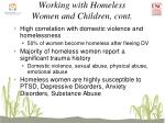 working with homeless women and children cont