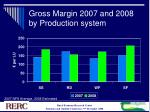 gross margin 2007 and 2008 by production system