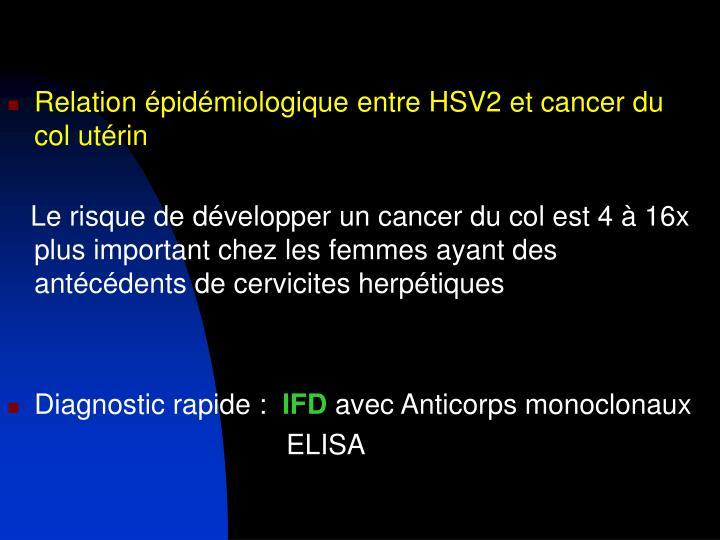Relation épidémiologique entre HSV2 et cancer du col utérin