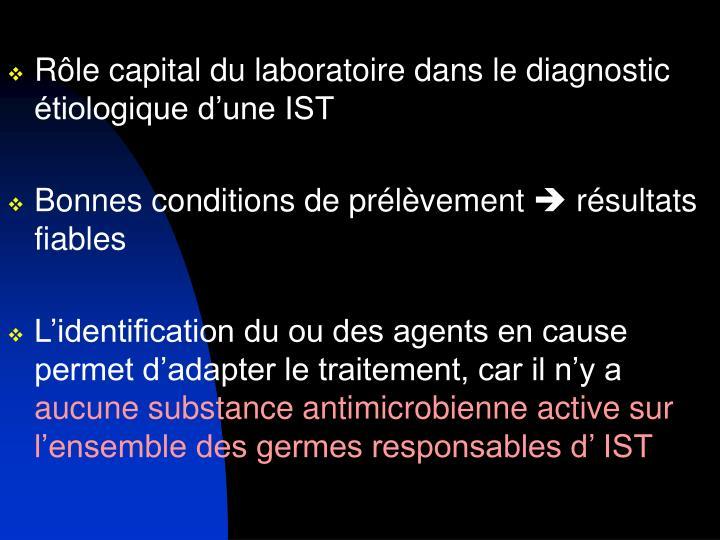 Rôle capital du laboratoire dans le diagnostic étiologique d'une IST