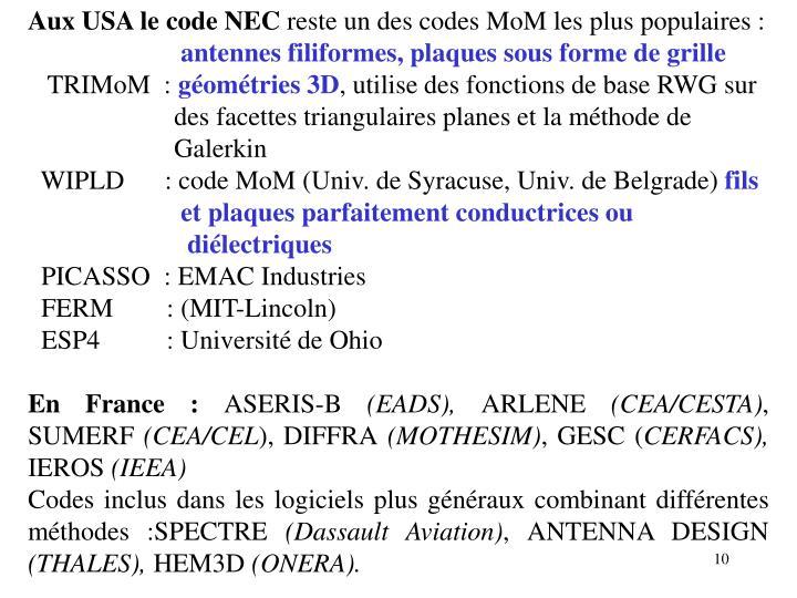 Aux USA le code NEC
