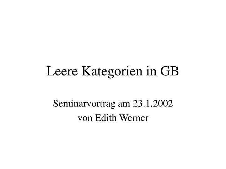 leere kategorien in gb n.