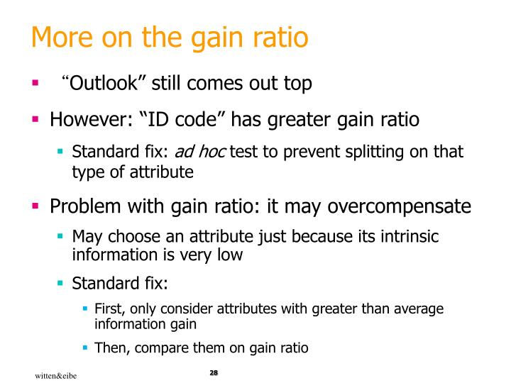 More on the gain ratio