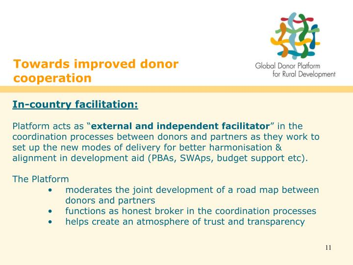 Towards improved donor cooperation