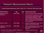 numeric measurement macro