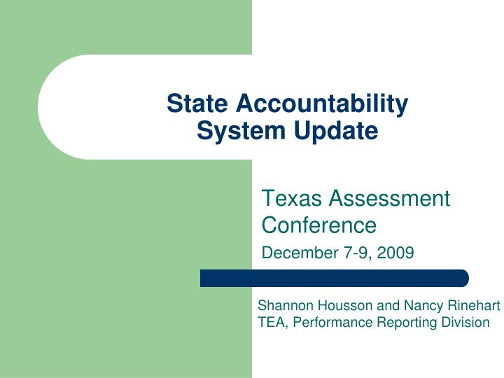 state accountability system update n.