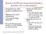 beneficio de rt post mastectom a limitado a pacientes con 4 o m s ganglios