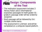 design components of the test