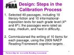 design steps in the calibration process