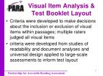 visual item analysis test booklet layout