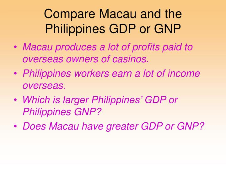 Compare Macau and the Philippines GDP or GNP