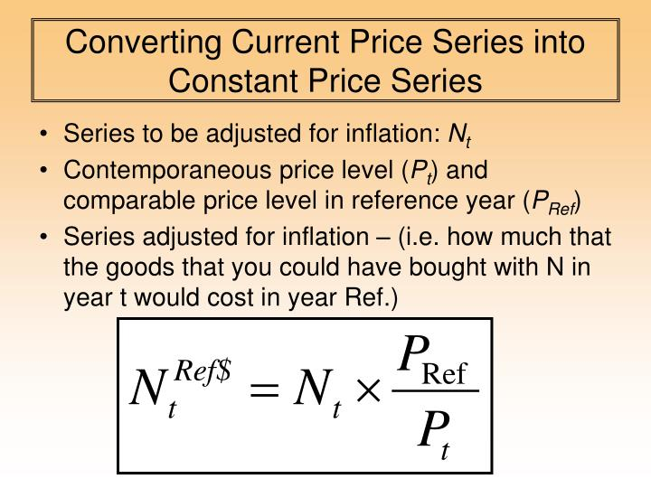Converting Current Price Series into Constant Price Series