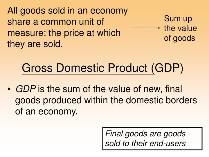 All goods sold in an economy share a common unit of measure: the price at which they are sold.